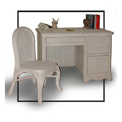 Roma Wicker Desk with Chair