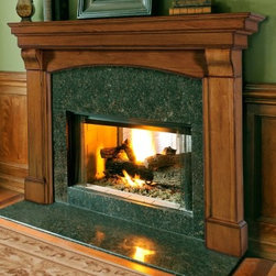 Pearl Mantels Blue Ridge Arched Fireplace Surround - Gather 'round the hearth in high style with the Pearl Mantels Blue Ridge Arched Fireplace Mantel. This traditional mantel surround features beautiful details, an arched interior top, and a shelf that'll accommodate artwork and decoration of any type. Available finished or in plain easy-to-stain hardwood and 2 sizes, the Blue Ridge Arched Mantel is an easy way to tie your living room together. 1.5-inch projection from wall for installation of a non-combustible material like stone, tile, or marble. Ships in 3 pieces - simple nuts and bolts assembly. All hardware and a mitered hanger board for installation are included. Full dimensions 48-inch mantel Interior mantel width: 48 in. Interior mantel height (highest): 45 in. Interior mantel height (lowest): 42 in. Width to outside leg at base: 64 in. Shelf length: 69 1/2 in. Shelf depth: 10 in. Overall height: 58 in. Leg Depth: 4 in. 56-inch mantel Interior mantel width: 56 in. Interior mantel height (highest): 45 in. Interior mantel height (lowest): 42 in. Width to outside leg at base: 72 in. Shelf length: 77 1/2 in. Shelf depth: 10 in. Overall height: 58 in. Leg Depth: 4 in. About the Pearl InlayPearl Mantels is now including a discrete, authentic inlaid pearl on each of their pieces as a certificate of authenticity. During the transition, your Pearl Mantel may or may not include this feature. Please contact our Customer Care Center with any questions. About Pearl Mantels Inc. Pearl Mantels Inc. believes in business based on honest value, quality products, and personal service - even contacting clients directly to evaluate their needs and develop leading-edge solutions. Pearl also believes mantels are the emotional core of rooms, representing heritage and tradition and displaying precious heirlooms. Each Pearl mantel boasts exclusive detail and classic design, all at an affordable price. Plus a variety of finish options ensures Pearl Mantels Inc. indeed has a mantel for