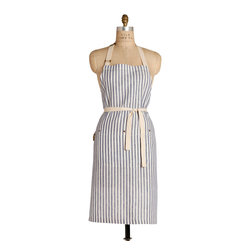 Birdkage - Montauk Classic Bib Apron - Breezy cotton linen with a nautical navy and cream cabana stripe gives this apron a classic, beachy vibe. The traditional-length bib-style apron includes a front pocket with blue jean rivets and is roomy enough for a man or a woman, so you can take turns preparing the party food and drinks.
