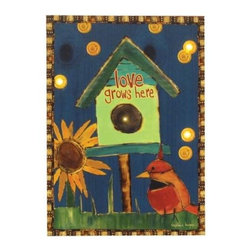 """Westland - """"Love Grows Here"""" Birdhouse Multicolored Lighted Canvas Wall Art - This gorgeous """"Love Grows Here"""" Birdhouse Multicolored Lighted Canvas Wall Art has the finest details and highest quality you will find anywhere! """"Love Grows Here"""" Birdhouse Multicolored Lighted Canvas Wall Art is truly remarkable."""