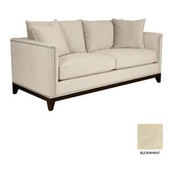 """Apt2B - La Brea Studded Apt. Size Sofa, Buckwheat, 72""""w X 39""""d X 31""""h - The La Brea Sofa Collection combines old world style with new world modern elegance. Framed by silver nail head studs and a rich espresso wooden base, the La Brea will make your room look like a million bucks."""
