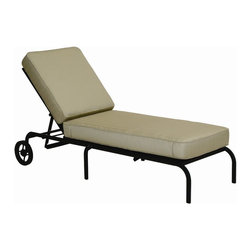 Landgrave - Landgrave Royale Cast Aluminum Cushion Side Adjustable Chaise Lounge - Woodard-Landgrave offers traditional and classical styles in lighter weight durable cast aluminum. Using the highest grade ingots Woodard-Landgrave cast aluminum patio furniture possesses an excellent balance of Resilience and design.  Landgrave's patio furniture collections are generally evocative of classic European designs. With collections inspired by the grandeur of the French Greek and Roman empires Landgrave furniture adds a level of sophistication to your patio. Features include Beautiful and elegant cast aluminum material Extremely durable high quality material cast aluminum is a long term investment into your patio furniture Suitable for any outdoor use Available in various finishes Offered in wide variety of fabric options for cushions Super comfortable high quality cushions designed for extreme comfort Commercial Grade. Specifications Seat Height: 12.3 inches.