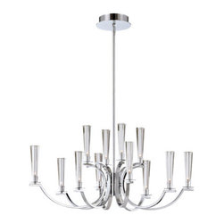 Eurofase Lighting - Cromo Chrome 12 Light Oval Chandelier with Clear Glass Shade - - 12 Light Oval Chandelier  - Polished Chrome Finish  - Bulb Included  - Clear Glass Shade  - Some Assembly required Eurofase Lighting - 25636-017