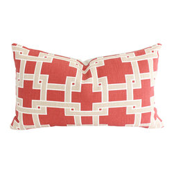 The Pillow Studio - Red City Square Geometric Lumbar Pillow Cover- Both Sides - The faded brick red and tan compliment one another perfectly. I love the graphic contrast of this pillow.