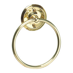 "Renovators Supply - Towel Rings Bright Solid Brass Towel Ring 6 1/4""  Dia - Protected by our exclusive Renovator's Supply finish, this brass towel ring has a beaded design around its outside edge for a simple yet elegant look.  Its ring measures 6 1/4"" in diameter with a 1 1/4"" projection from a 3 1/8"" diameter backplate."