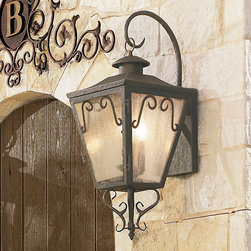 Ballard Designs - Cordoba Outdoor Lanterns - Its charming vintage design features handcrafted seeded glass panes and scrolled accents. Crafted of metal with hammered Aged Bronze finish and protective weather resistant coating. UL listed for wet locations.