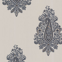 Dynasty Charcoal Paisley Wallpaper. - This boutiques style paisley wallpaper draws on Persian influences. A midnight charcoal suede motif  with copper accents, on a polished pewter background.