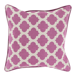 Lattice Tile Throw Pillow in Eggplant - Relax in style with this graphic, boho tile-inspired throw pillow. Its patterned motif gives any room a hint of modern romance and global design.