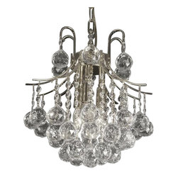 Warehouse of Tiffany - Cyan 3-light Crystal Chandelier - Illuminate your home with this dazzling 3-light crystal chandelier. This elegant lighting fixture is perfect for any room that needs an extra sparkle. Setting: IndoorsFixture finish: ChromeMaterials: CrystalNumber of lights: Three (3)Requires: Three (3) 60 watt bulbs (not included)Shade Dimensions: 13 inches high x 13 inches wide x 7 inches lengthThis fixture does need to be hard wired. Professional installation is recommended. CSA Listed, ETL Listed, UL Listed