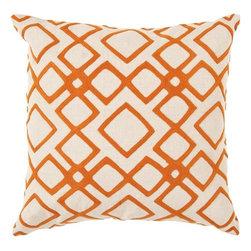 """Surya - Surya 18 x 18 Decorative Pillow, Pumpkin and Peach Cream (COM015-1818P) - Surya COM015-1818P 18"""" x 18"""" Decorative Pillow, Pumpkin and Peach Cream"""