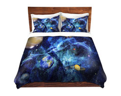DiaNoche Designs - Duvet Cover Microfiber by Mark Watts - Symphony of Space - Super lightweight and extremely soft Premium Microfiber Duvet Cover in sizes Twin, Queen, King.  This duvet is designed to wash upon arrival for maximum softness.   Each duvet starts by looming the fabric and cutting to the size ordered.  The Image is printed and your Duvet Cover is meticulously sewn together with ties in each corner and a hidden zip closure.  All in the USA!!  Poly top with a Cotton Poly underside.  Dye Sublimation printing permanently adheres the ink to the material for long life and durability. Printed top, cream colored bottom, Machine Washable, Product may vary slightly from image.