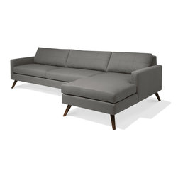 """TrueModern - Dane 116"""" Sofa with Chaise in Calvin Dolphin - Dane Sofa with Chaise in Calvin Dolphin by TrueModern features Danish wooden legs and top-stitching on the cushions. With super slim arms and understated stitching on the back cushions, this sofa becomes the centerpiece in any room. *Seat Height: 16.5"""""""