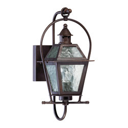 Quorum Lighting - Quorum Lighting French Quarter Transitional Outdoor Wall Sconce X-68-1-9197 - This Quorum Lighting French Quarter Transitional Outdoor Wall Sconce is a beautiful piece with a timeless appeal. It has an impeccably designed frame in a rich and warm, oiled bronze finish. It's a 15.75-inch-tall piece with rustic charm, and one which will make you feel like you're in the historic neighborhood of New Orleans for which this fixture is named.