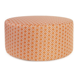 Howard Elliott - Geo Universal 36 Round Ottoman - Take the party outside with our Patio 36 Rounds. The ultimate in alternative seating can now go outside. Unlike any other, the Patio 36 Round has a specially designed insert so that it can withstand the elements making it perfect for your porch or patio. The cover is made of a fun, bright geometric outdoor pattern giving your 36 Round the durability to last seasons to come.