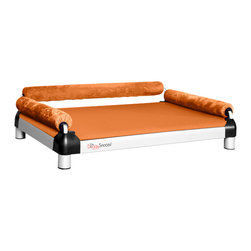 DoggySnooze - snoozeSofa, 3 Bolster Orange - If you spend half your time coaxing your pampered pooch off your couch, here's a sofa just for him. Elevated for comfort, with three sturdy bolsters to support him, this stylish dog bed comes in a selection of colors to complement your home or office decor. Made in the USA and available in three sizes, with optional black anodized frame, long legs and memory foam.