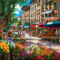 The Tile Mural Store (USA) - Tile Mural - Paris Flower Market - Kitchen Backsplash Ideas - This beautiful artwork by Sam Park has been digitally reproduced for tiles and depicts a parisian street lined with markets and colorful flowers.  This street scene tile mural would be perfect as part of your kitchen backsplash tile project or your tub and shower surround bathroom tile project. Street scenes images on tiles add a unique element to your tiling project and are a great kitchen backsplash idea. Use a street scene tile mural, perhaps a Tuscan theme tile mural, for a wall tile project in any room in your home where you want to add interesting wall tile.