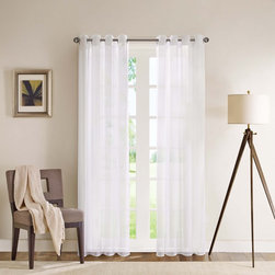 Madison Park - Madison Park Clarion Sheer Flame Retardant Curtain Panel - Refresh your room with the simplicity of a sheer white window panel. The panel is made out of a very light weight crisp and clean fabric with a weighed bottom to keep in place.