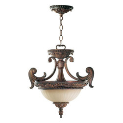 Quorum International - Quorum International Q2230-18 Two Light Semi-Flush Ceiling Fixture from the Made - *Madeleine Dual Mount Our Madeleine Family embodies classic elements of lighting design through the centuries: the cast structure with its Corsican Gold finish suggests the ornately carved wood and bronze-finished chandeliers and wall mounted fixtures of the 17th century. The Antique Amber Scavo glass bowls and fluted shades recall oil lamps that evolved to candleholders. The profuse decoration of cast acanthus leaf accents celebrate the tradition of botanical forms as decoration. Bulbs: (2) 75W Medium