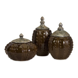 "IMAX CORPORATION - Darcy Hobnail Canisters - Set of 3 - Interesting Brown Glazed Darcy Hobnail Ceramic Canisters with Antique Silver lids, set of three. Set of 3 in various sizes measuring around 28.75""L x 11.75""W x 23""H each. Shop home furnishings, decor, and accessories from Posh Urban Furnishings. Beautiful, stylish furniture and decor that will brighten your home instantly. Shop modern, traditional, vintage, and world designs."