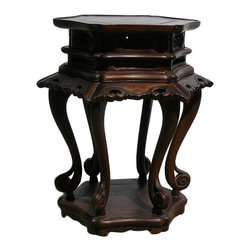 Golden Lotus - Chinese Huali Wood Hexagon Plant Stand Table - This is an old Huali Rosewood plant / flower stand in hexagon shape with decent craftsmanship on apron and legs.