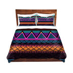 DiaNoche Designs - Duvet Cover Twill by Organic Saturation - Neon Modern Tribal - Lightweight and soft brushed twill Duvet Cover sizes Twin, Queen, King.  SHAMS NOT INCLUDED.  This duvet is designed to wash upon arrival for maximum softness.   Each duvet starts by looming the fabric and cutting to the size ordered.  The Image is printed and your Duvet Cover is meticulously sewn together with ties in each corner and a concealed zip closure.  All in the USA!!  Poly top with a Cotton Poly underside.  Dye Sublimation printing permanently adheres the ink to the material for long life and durability. Printed top, cream colored bottom, Machine Washable, Product may vary slightly from image.
