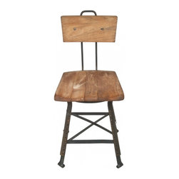 Vintage Chairs - Early 1900's industrial chair/stool with solid wood seat and adjustable back.