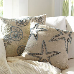 Knotted Ocean Embroidered Pillow Cover - These throw pillows can bring a beachy vibe into even the most landlocked places. They are simple and still set a tone for the whole room.