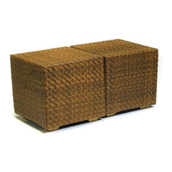 Woodard - Whitecraft by Woodard Domino Cube Side Table - 962000T - Shop for Sheds and Storage from Hayneedle.com! Simple yet effective the Whitecraft by Woodard Domino Cube Side Table makes a lasting impression for any outdoor patio decor. Built to last in all seasons the wicker cube acts as a side table perfect for setting a minimalist motif. The Domino collection's wicker is the latest addition to the Woodard line. Each piece is constructed using cutting-edge synthetic fibers hand-woven over an aluminum frame that supports up to 75 pounds. Weight: 15 pounds. Dimensions: 21W x 21D x 21H inches.About WoodardWoodard: Hand-crafted to withstand the test of time. For over 140 years Woodard craftsmen have designed and manufactured products loyal to the timeless art of quality furniture construction. Using the age-old art of hand-forming and the latest in high-tech manufacturing Woodard remains committed to creating products that will provide years of enjoyment.Important NoticeThis item is custom-made to order which means production begins immediately upon receipt of each order. Because of this cancellations must be made via telephone to 1-800-351-5699 within 24 hours of order placement. Emails are not currently acceptable forms of cancellation. Thank you for your consideration in this matter.All Seasons Outdoor Wicker is the latest addition to the Woodard line of quality furniture. Each piece is constructed using cutting-edge synthetic fibers hand-woven over an aluminum frame. With this combination of resilient weather-resistant materials and Woodard's quality workmanship All Seasons Wicker will retain its beauty and integrity for years.Fabric Finish and Strap Features All fabric finish and straps are manufactured and applied with the legendary Woodard standard of excellence. Each collection offers a variety of frame finishes that seal in quality while providing color choices to suit any taste. Current finishing processes are monitored for thickness adhesion color match gloss rust-resistance and and proper curing. Fabrics go through extensive testing for durability and application as well as proper pattern weave and wear.Most Woodard furniture is assembled by experienced professionals before being shipped. That means you can enjoy your furniture immediately and with confidence.Together these elements set Woodard furniture apart from all others. When you purchase Woodard you purchase a history of quality and excellence and furniture that will last well into the future.