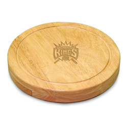 """Picnic Time - Sacramento Kings Circo Cheese Board in Natural - The Circo by Picnic Time is so compact and convenient, you'll wonder how you ever got by without it! This 10.2"""" (diameter) x 1.6"""" circular chopping board is made of eco-friendly rubberwood, a hardwood known for its rich grain and durability. The board swivels open to reveal four stainless steel cheese tools with rubberwood handles. The tools include: 1 cheese cleaver (for crumbly cheeses), 1 cheese plane (for semi-hard to hard cheese slices), 1 fork-tipped cheese knife, and 1 hard cheese knife/spreader. The board has over 82 square inches of cutting surface and features recessed moat along the board's edge to catch cheese brine or juice from cut fruit. The Circo makes a thoughtful gift for any cheese connoisseur!; Decoration: Laser Engraved; Includes: 1 cheese cleaver (for crumbly cheeses), 1 cheese plane (for semi-hard to hard cheese slices), 1 fork-tipped cheese knife, and 1 hard cheese knife/spreader"""