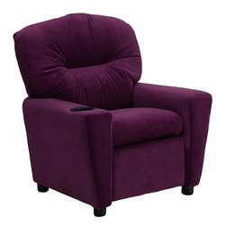 Flash Furniture - Contemporary Purple Microfiber Kids Recliner with Cup Holder - Let your children relax in style with this purple microfiber recliner. The small design makes it perfect for kids, and the contemporary color and fashion help it fit with most modern home decor choices. The included cup holder helps prevent spills.