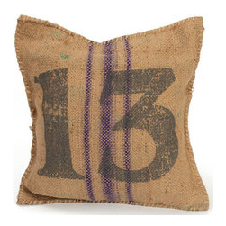 "Vintage Sack Pillow # 13 - Just in! Our vintage sack burlap pillows have lucky 13 printed on them in black. The perfect vintage accessory, it is 18"" square and made of burlap. Minimum order of two"