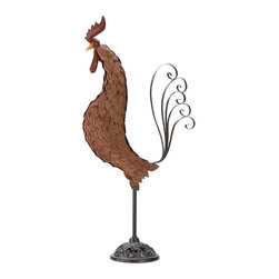 KOOLEKOO - Metal Garden Sculpture Rooster - Whether your dcor is wine-country Tuscan or down-home farmyard country-cute, this impressive wrought-iron rooster adds just the right touch of color and sophistication! A substantial 31 inches tall with filigree base and graceful tail; dozens of embossed-metal feathers give this handsome sculpture the look of an artistic antique handicraft. Cast iron and wrought iron.