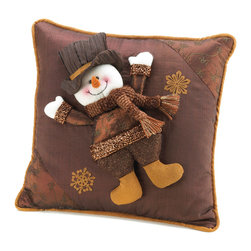KOOLEKOO - Golden Sparkle Snowman Pillow - Throw a little holiday cheer onto your couch or chair with this happy snowman decorative pillow. Rich browns and golden sparkle will compliment your decor and his plush, smiling face will warm your heart.