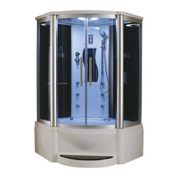 Eagle Bath - Eagle Bath 48 Inch Steam Shower w/ Whirlpool Bathtub Combo Unit - Unit must be hardwired to two dedicated 110v line with GFCI breaker. Electric Voltage - 110v, 50HZ. Electric Current - 30A for Steam Generator. Steam Generator - 3KW. Electrical Voltage - 110v, 50HZ. Whirlpool Motor - 3/4 HP. Electric Current - 20a for Whirlpool Motor (30a w/ Heater). Hot & Cold Valve Pipe Size - 1/2 Inch. Overheat protection (the steam generator will be shut down automatically if the temperature of the box gets too hot). No water protection (if there is no water in the steam generator, it will shut down immediately). Flexible drain hose - Approximately 3ft long (If you are using the flexible drain hose, you should have your waste hole 1.6 ft away from the drain hole at the bottom of your acrylic base).