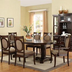 Hokku Designs - Regan 7 Piece Dining Set - The rounded contours and uncluttered details of this oval table and chairs make it an elegant choice for your dining room d cor. Dressed in hand-rubbed walnut veneers this versatile Regan 7-Piece Dining Set with Removable Leaf in Dark Walnut easily adjusts to fit any room sizes. Features: -Upholstery material: 35% Polyester and 65% cotton.-Beautiful dining table equipped with removable extended leaf and pedestal bases.-Dining chairs utilize the mortise and tenon joint techniques to create a stable, tight-fitting chair for maximum support and durability.-Chairs features reinforced foam filled upholstered seats, contoured upholstered back with gently flared legs.-ISTA 3A certified.-Set includes one dining table, two arm chairs and four side chairs.-Chair upholstered in taupe colored fabric.-Frame construction: Solid birchwood.-Dark walnut finish.-Collection: Regan.-Distressed: No.Dimensions: -Dining table dimensions: 30'' H x 71.88-89.88'' W x 45.88'' D.-Side chair dimensions: 41.88'' H x 22.5'' W x 25'' D.-Arm chair dimensions: 41.88'' H x 24'' W x 25'' D.