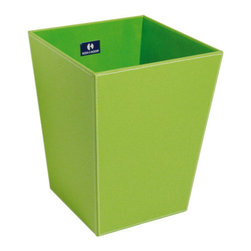 WS Bath Collections - Ecopelle 2603LGR Waste Basket - Want a wastebasket that's so darned cute it will actually make your bathroom brighter? This sturdy Italian-made bin is made from faux leather with an interior of synthetic cloth, and it comes in neutrals and brights.