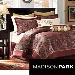 Madison Park - Madison Park Churchill 12-piece Bed in a Bag with Sheet Set - Everything that you need for a bedroom makeover is included in this bed in a bag with sheet set. This twelve-piece bedding set features an all-over jacquard print comforter and shams and comes with ivory sheets for a decorator look in the bedroom.