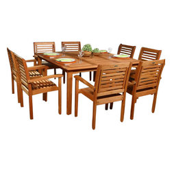 International Home Miami - Amazonia BT Milano Square 9-Piece Patio Dining Set - Great Quality, elegant design patio set, made of solid eucalyptus wood. FSC (Forest Stewardship Council) certified. Enjoy your patio with style with these great sets from our Amazonia outdoor collection, an outdoor-Piece suited for a plethora of uses, whether it be a casual family dinner or upscale event.