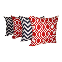Land of Pillows - Chevron Navy and Nicole Rojo Red Decorative Outdoor Ogee Throw Pillows -Set of 4 - Fabric Designer - Premium Home Decor