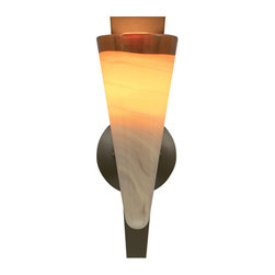 Tech Lighting - Tech Lighting 700WSNEBAZ WSNebbia Wall amber,bz - Handblown glass with an elegantly fused glass wrap and a metal base. Incandescent includes 120 volt, 40 watt G9 base halogen lamp. Incandescent may also use 120 volt, 60 watt G9 base halogen lamp (not included). Fluorescent includes 120 volt, 18 watt GU24 base selfballasted compact fluorescent lamp. Fluorescent may also use 120 volt, 27 watt GU24 base selfballasted compact fluroescent lamp (not included). Incandescent version dimmable with standard incandescent dimmer.
