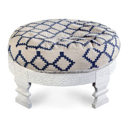 Serenity Ottoman - Make sumptuous, thoughtful detail a part of your home's design with the Serenity Ottoman. With its solid wood base painted clean white and its plump cotton cushion a neat mix of natural and navy diamonds, this occasional seat or footstool looks crisp and fresh, but the incredible carpentry exhibited in the base's dimensional pattern work speaks to elevated taste.