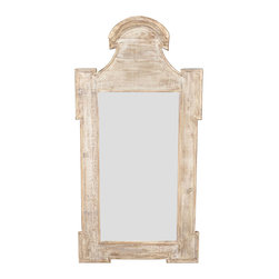 Mirror, Beveled Glass with a Gray Wash Wax Finish - Haloed by a simplified shell silhouette at the top which flows gracefully down to the punctuated geometry of projecting corners, this wall mirror has a frame of reclaimed wood with a versatile antiqued wash to marry disparate colors in your d�cor, while the central rectangular panel is lightly beveled for a more finished look.  Its outline is charming and traditional, while its surface is weathered and rustic: a perfect marriage of style points for the well-curated interior.