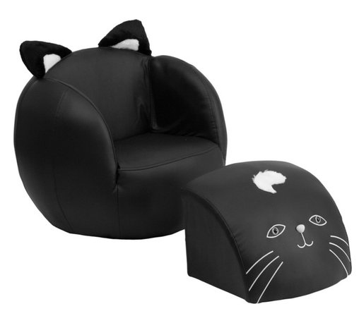 Flash Furniture - Flash Furniture Kids Cat Chair and Footstool - Kids will now get to enjoy furniture designed specifically for their size! This fun set features a chair and footstool. The footstool fits snug inside the chair for a clean appearance or for easy transporting. The soft ears on the back of the chair add an adorable characteristic. The vinyl upholstery ensures easy cleaning after accidents or for quick wipe offs.