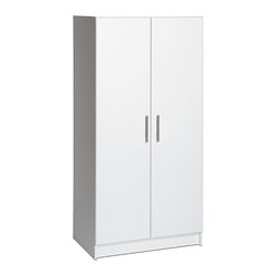 Prepac - Winslow White 32-inch Elite Wardrobe Cabinet - Featuring stylish brushed-metal handles,European-style adjustable hinges,and a durable white laminate finish,this classic wardrobe cabinet is a versatile addition to your home. Made with composite wood,this sturdy cabinet is also easy to assemble.