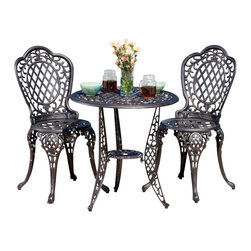 Great Deal Furniture - Modena 3pcs Outdoor Cast Aluminum Bistro Set - The Modena bistro set is a beautiful addition for your outdoor decor. Made from cast aluminum, the set includes two (2) armless chairs and one (1) round mesh table. The features include intricate details and a crown top on the chair backrest and the table also features a patio umbrella opening. The antique bronze finish is neutral to match any outdoor furniture and will hold up in any weather condition. Whether in your backyard, patio, deck or even your restaurant outdoor dining space, you'll enjoy this set for years to come.