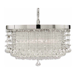 Uttermost - Fascination 3-Light Crystal Chandelier - Now this is the classic chandelier — dripping with crystals. But what's this? A polished chrome rim and a pleated cylinder surrounded by different sizes of crystals? The classic just took a twist and perhaps you went with it. Not ordinary, not classic, very particular and almost contemporary. What do you think?