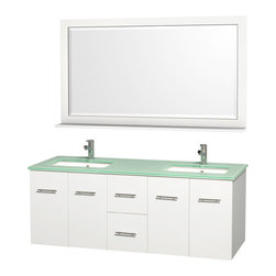 Wyndham Collection - Bathroom Vanity Set with 2 Drawers - Includes two square porcelain undermount sink and matching mirror with shelf. Faucet not included. Four functional doors. Plenty of storage and counter space. Single faucet hole mount. Green glass top. Engineered to prevent warping and last a lifetime. 12 stage wood preparation, sanding, painting and finishing process. Highly water resistant low V.O.C. sealed finish. Unique and striking contemporary design. Modern wall mount design. Deep doweled drawers. Fully extending under mount soft close drawer slides. Concealed soft close door hinges. Made from solid oak hardwood. White and brushed chrome exterior hardware finish. Vanity: 60 in. W x 22.25 in. D x 22.75 in. H. Mirror: 58 in. L x 33 in. H. Care Instruction. Assembly instructions - Vanity. Assembly instructions - Counter Top. Assembly instructions - Undermount Sink. Assembly instructions - MirrorSimplicity and elegance combine in the perfect lines of the Centra vanity by the (No Suggestions) Collection. If cutting edge contemporary design is your style then the Centra vanity is for you modern, chic and built to last a lifetime. You'll never hear a noisy door again! The attention to detail on this beautiful vanity is second to none.