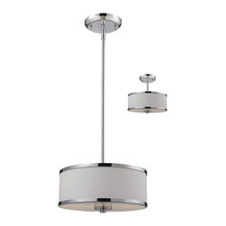 Z-Lite - Light Convertible Pendant Semi Flush Fixture With Fabric ShadeCameo Collection - With its clean, functional lines and chrome accents, this Convertible Pendant / Semi-Flush Fixture features a bottom glass diffuser that softens the light output.