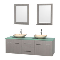 Wyndham Collection - 72 in. Double Bathroom Vanity in Gray Oak, Green Glass Countertop, Arista Ivory - Simplicity and elegance combine in the perfect lines of the Centra vanity by the Wyndham Collection . If cutting-edge contemporary design is your style then the Centra vanity is for you - modern, chic and built to last a lifetime. Available with green glass, pure white man-made stone, ivory marble or white carrera marble counters, with stunning vessel or undermount sink(s) and matching mirror(s). Featuring soft close door hinges, drawer glides, and meticulously finished with brushed chrome hardware. The attention to detail on this beautiful vanity is second to none.