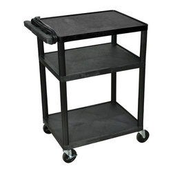 Luxor - Luxor Presentation Cart - LP34E-B - Luxor LP series presentation station AV carts are made of recycled high density polyethylene structural foam molded plastic shelves that will not scratch, dent, rust or stain.